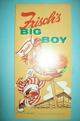 Vintage/Original 1959 Frisch's Big Boy Restaurant Menu - NOS/Mint/IUnused