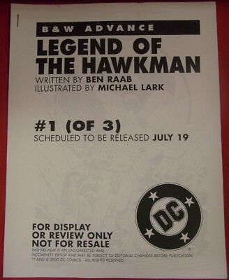 Legend Hawkman Uncorrected Incomplete Proof Preview Comic 1 Raab Lark 2000