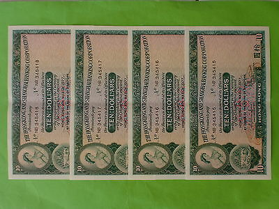 Hong Kong HSBC $10 (aUNC, light center fold) 31st March 1977, 4pc Running Number