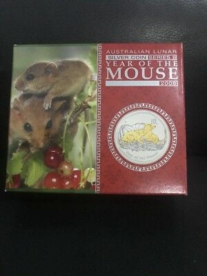 2008 Perth Mint 1 oz GILDED MOUSE .999 Silver Coin