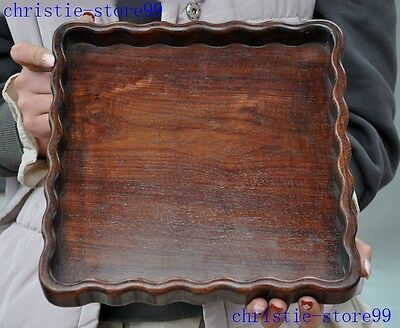 Collect Old Chinese huanghuali wood Hand-carved Lucky  tray tea tray plate