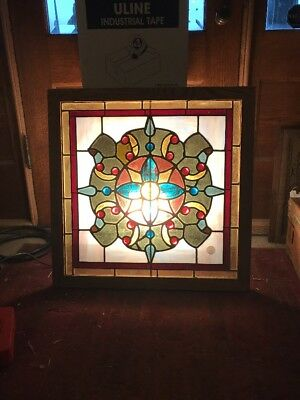 Rk 33 Antique Square Stained Glass Window Many Jewels Restored 27.5 X 27.5