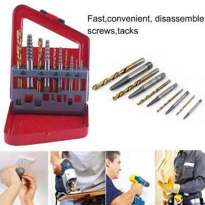 10pc Easy Out Screw Extractor Set Matched Left Hand Drill Bits Broken-Bolt