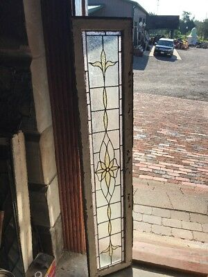 Sg 2359 Antique Textured Floral Center Stained Glass Window 11.75 X 58.75