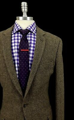 J Crew Mens Browm Herringbone Tweed Slim Fit Wool Sport Coat Jacket 42L