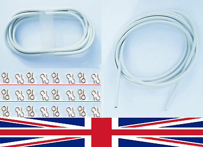 Various Sizes White Window Net Curtain Wire Cord Cable + Hooks & Eyes Free