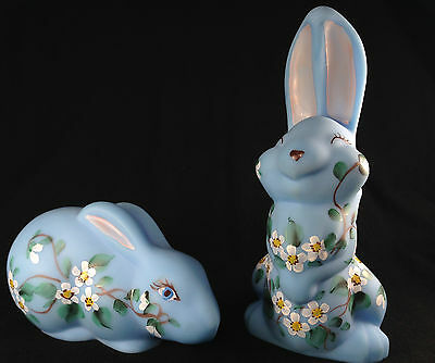 Signed Pair Mosser Hand Painted Glass Baby Blue Bunny Rabbits Floral Set Lot USA