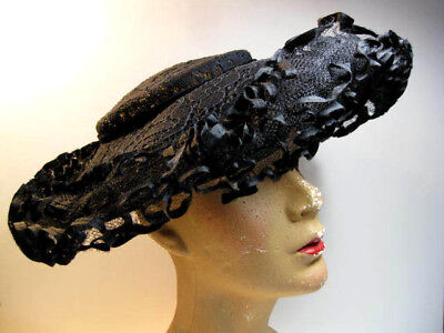 Vintage 1950's Black Chantilly Lace Frisbee Women's Hat W/Ruffled Edge
