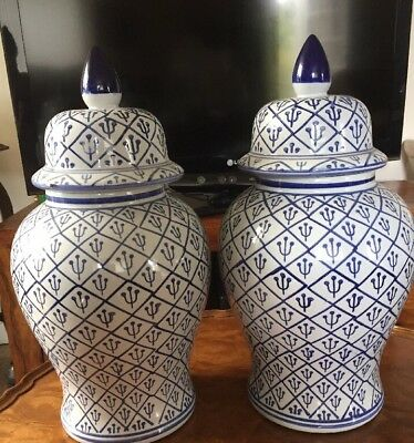 """A Pair Of Very Large Chinese Ginger Jar Vases 18.5"""" Tall"""
