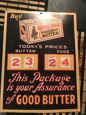 VINTAGE CARDBOARD DIRECT ADVERTISING SIGN COUNTRY MAID BUTTER / Eggs Prices
