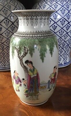 """10"""" Tall Republic Period Vase Hand Painted. Signed. Calligraphy"""