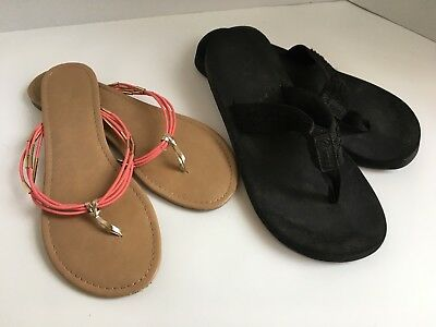 Lot of 2 Women's Size 11 Reef and Mix No.6 Sandals Black Salmon Thong Flip Flops