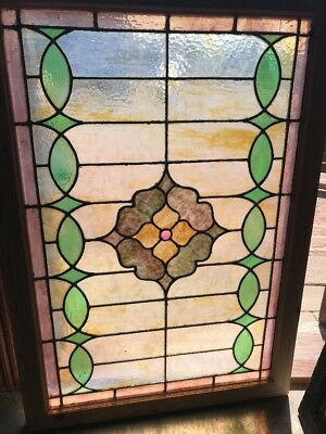 SG 2366 Antique Jewel Center stain glass transom window 28 1/8 x 40.5