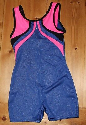EUC Freestyle Danskin Girls Gymnastics Leotard Size Small 6/6X Blue Pink