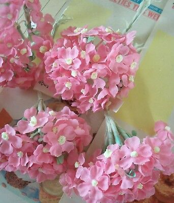 Vintage Millinery / Rose Pink Hydrangea Bouquets / Artificial Flowers / Five