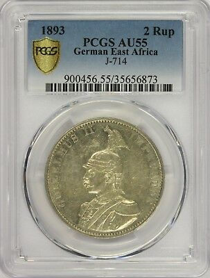 MBB 1893 Germany East Africa 2 Rup PCGS-AU55
