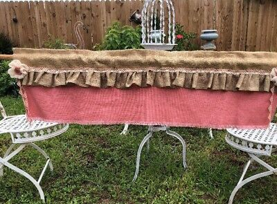 """52"""" French Cottage chic Rustic Toile Burlap Valance -SHABBY PINK ROSES - Ruffled"""