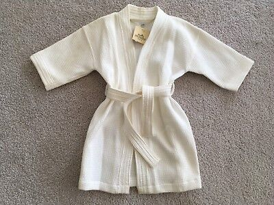 HERMES Kids White Cotton Bath Robe Toddler SZ 2 Unisex Bathrobe Girls Boys NWT
