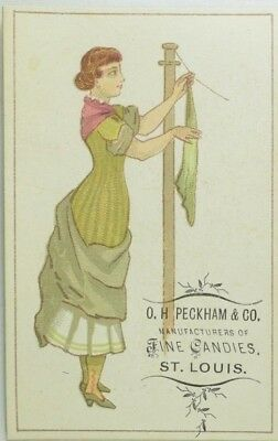 1870's-80's O. H Peckham & Co. Lady Hanging Clothes Victorian Trade Card P114