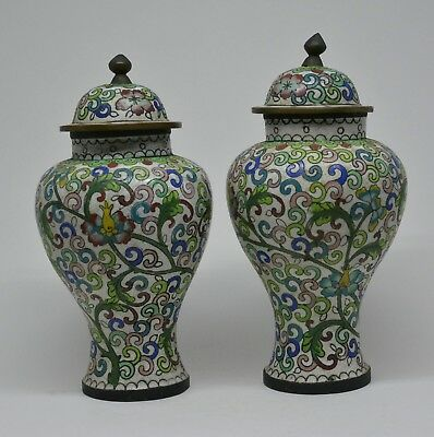 Antique Chinese Cloisonne Vases (Pair ) ~ 6.5 Inches Tall  ~