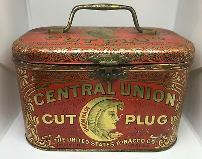 Antique 1900 Central Union Tin Pail Cut Plug Tobacco Advertising Adv Vintage Can