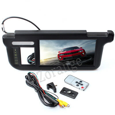 "9"" TFT LCD Car Sun Visor Monitors DVD Display Video Rearview Mirror Left BlacK"