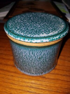 BLUE & green purple speckle GLAZE CERAMIC pottery BUTTER CROCK & LID 4 × 4""
