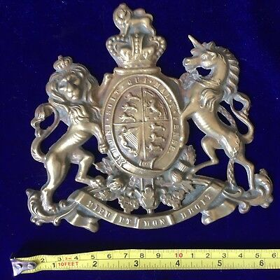 Antique Royalist Polished Brass Royal Coat of Arms Sign Plaque