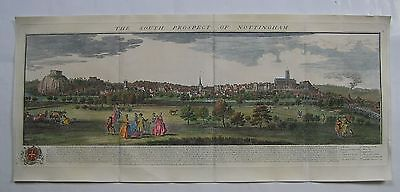 Nottingham: panoramic topographic engraving by N & S Buck, 1743