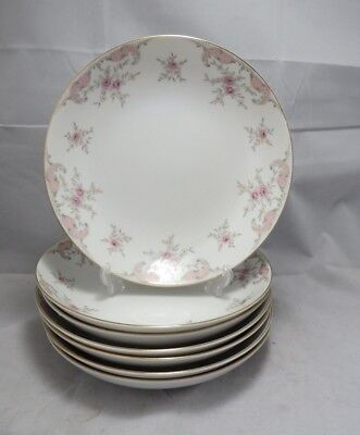 Harmony House China Coupe Soup Bowls Antoinette Pink paisley & Roses Set of 6