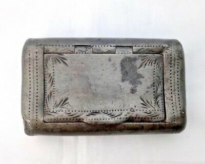 Antique Georgian Pewter Snuff Box with Hinged Lid by Dixon & Son 1823 - 1829