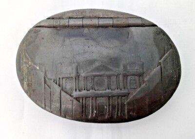 Antique 19th Century Pewter Snuff Box with Hinge Lid Showing St Paul's Cathedral