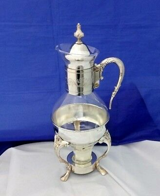 Raimond Silver Plate Stand & Corning Glass Carafe & Tealight Coffee Mulled Wine