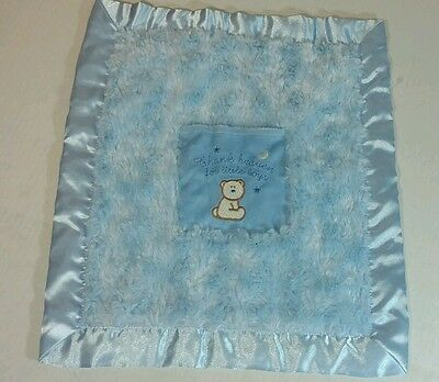 Blankets & Beyond Blue Bear Thank Heaven for Little Boys Security Lovey Pocket