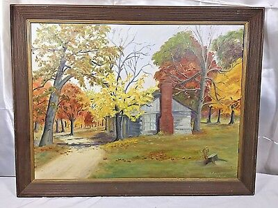 Vintage Painting Cabin Woods Autumn Fall Rustic 1964