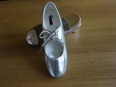 SILVER PU LOW HEEL TAP DANCE SHOES TOE TAPS ONLY GIRLS/ADULT All Sizes Available