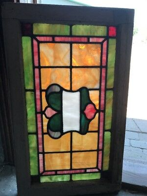 "ST 2361 antique Stainglass transom window 18"" x 30"""