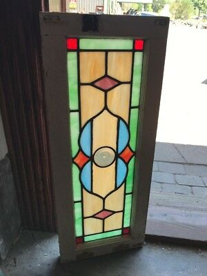 "SG 2362 antique Stainglass transom window Rondell center 12"" x 30"