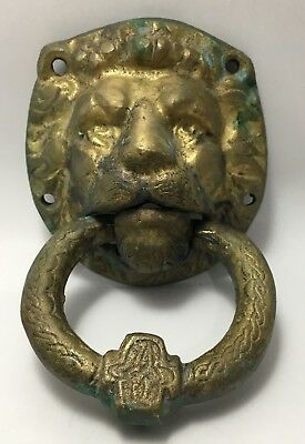 Lion Head Door Knocker Vintage Rare Antique Copper Heavy Lions Old Architecture