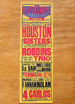Vintage The Hippodrome Leeds Theatre music hall poster. Houston Sisters & more.