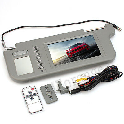 "9"" TFT LCD Car Sun Visor Monitors DVD/TV Display Video Rearview Mirror Left Grey"
