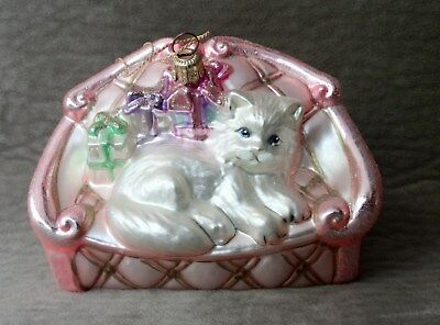 Couch Cat Christmas Ornament W/box - Adler Polonaise Collection, Komozja
