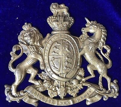 Antique Royalist Polished Brass Royal Coat of Arms Sign Plaque a