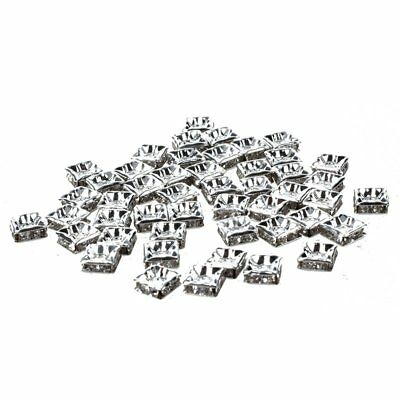 3X(50pcs Silver Square Rhinestones Rondelle Spacer Beads W7S9