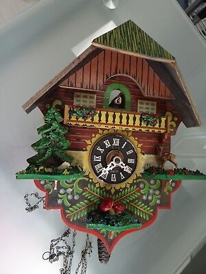 Antique Vintage Cuckoo Clock Single Weight Hand Painted
