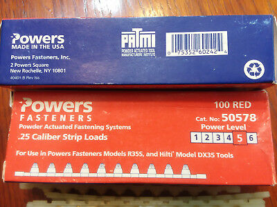 Red #5  Hilti/Powers .25 Cal.(6.3/10M) Shot Load Strips For DX35 100cnt  No Box