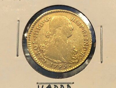 1795 gold 2 escudos Spain, doubloon colonial Carlos IV Popayan mint Colombia