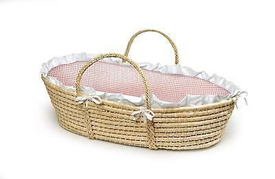 Wedding Basket Natural Baby Moses Basket, Pink Gingham With A White Ruffle Trim