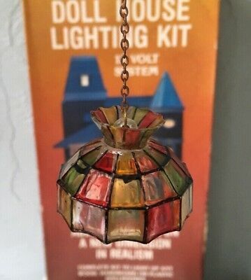 Vintage Dollhouse Lighting Kit, Tiffany Style Lamp Shade 12 Volt Elect-A-Lite