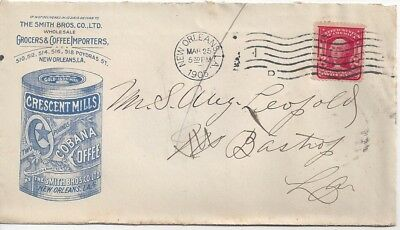 1905 New Orleans Louisiana Advertising Cover Cobana Coffee Crescent Mills